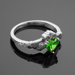 White Gold Claddagh CZ Birthstone Ring with Diamonds
