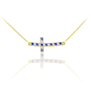 14k Gold Diamond and Sapphire Sideways Curved Cross Necklace