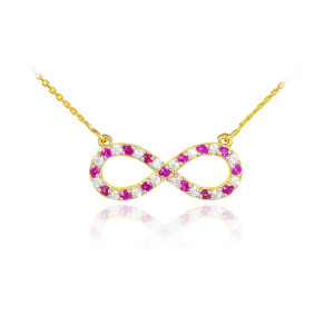 14K Gold Diamond and Ruby Infinity Necklace