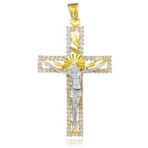 Two-Tone Gold CZ Crucifix Pendant
