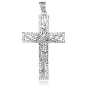 White Gold Crucifix CZ Pendant