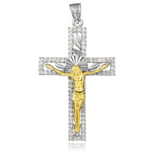 Two-Tone White and Yellow Gold CZ Crucifix Pendant