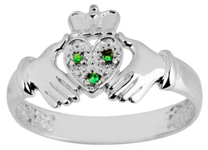 White Gold Claddagh Ladies with Emeralds.  Available in 14k and 10k.
