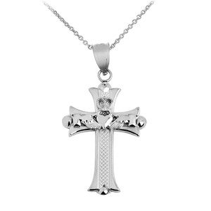 Claddagh Cross White Gold Pendant Necklace