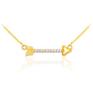 14k Gold Diamond Studded Arrow Necklace
