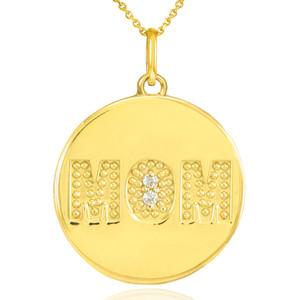 "14K Gold ""MOM"" Script Diamond Disc Pendant Necklace"