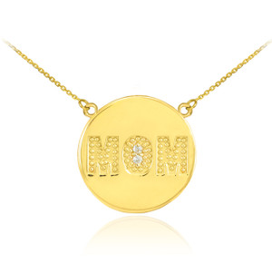 "14K Gold ""MOM"" Script Diamond Disc Necklace"