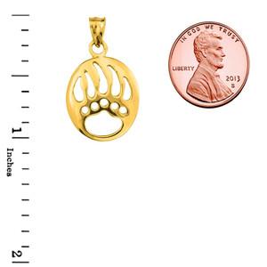 Yellow Gold  Gold Bear Paw Print Pendant