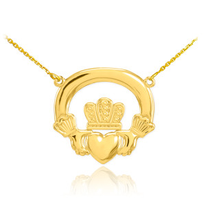 14K Gold Classic Claddagh Necklace