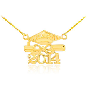 "14K Gold ""CLASS OF 2014"" Graduation Pendant Necklace"
