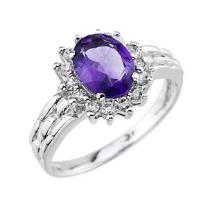 Gold  Amethyst Gemstone Ring