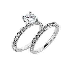 14k Gold  Solitaire Wedding Ring with Matching Band