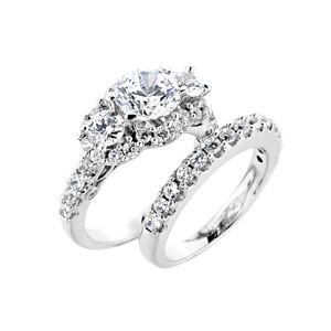 14k Gold  Engagement Wedding Ring Set