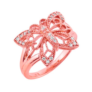 10K Rose Gold Diamond Filigree Butterfly Ring