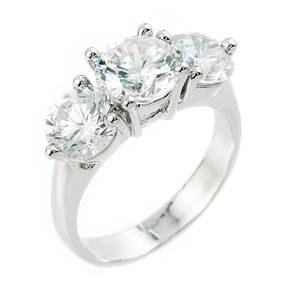 10k White Gold 3 Stone CZ Engagement Wedding Ring