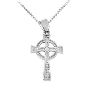 Silver Celtic Cross Pendant Necklace
