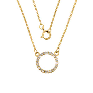 """14k Yellow  Gold """"Circle of Love"""" Necklace"""