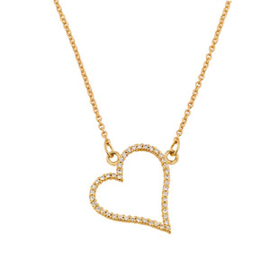 14K Yellow Gold Heart Necklace