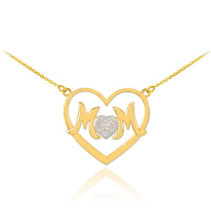 "14K Gold Diamond Pave Heart ""MOM"" Necklace"