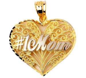 #1 Mom Gold Heart Pendant