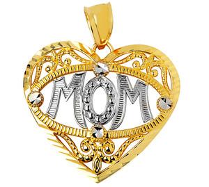 Gold Heart Mom Charm