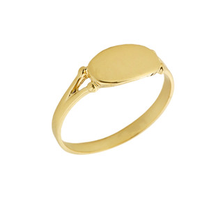 Yellow Gold Engravable Signet Ring