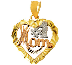 #1 Mom Tri-Color Charm Pendant