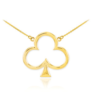 14k Gold Clover Shamrock Necklace