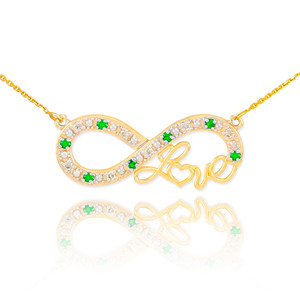 "14k Gold Emerald Infinity ""Love"" Script Necklace with Diamonds"