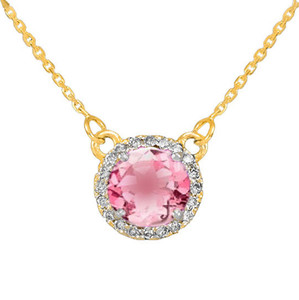 14k Gold Diamond Pink Tourmaline Necklace