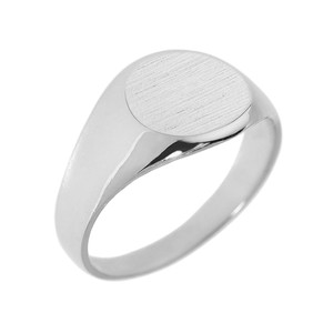 Solid White Gold Round Engravable Men's Signet Ring