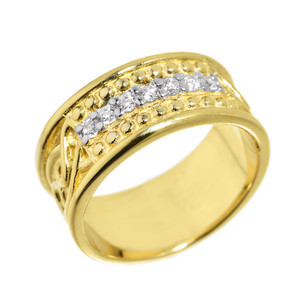Yellow Gold Celtic Knot CZ Wedding Band