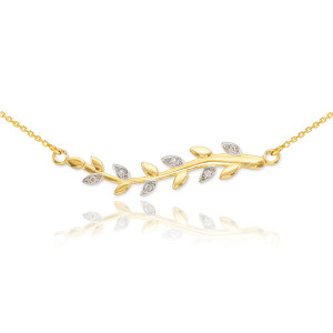 14K Gold Diamond Olive Branch Necklace