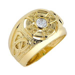 Men's Solid Gold Celtic Birthstone Ring