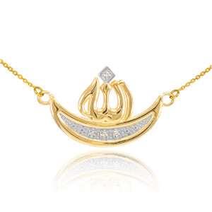 14k Gold Diamond Crescent Moon Allah Necklace