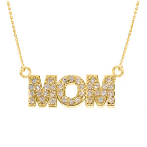 "14 Yellow Gold ""MOM"" CZ Pendant Necklace"