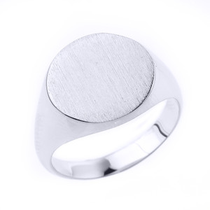 Engravable Men's Signet Ring in Solid White Gold