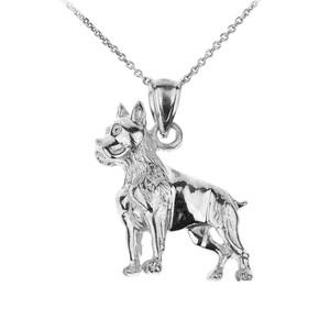 White gold boxer dog pendant necklace gold boxer dog charm necklace white gold boxer dog pendant necklace aloadofball Gallery