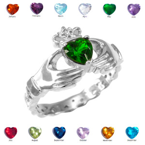 White Gold Claddagh Diamond Crown Birthstone CZ Ring