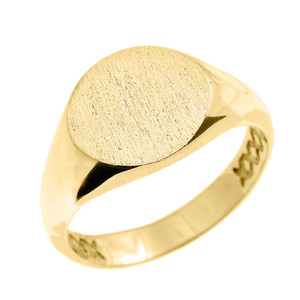 Solid Yellow Gold 12 MM Round Engravable Men's Signet Ring