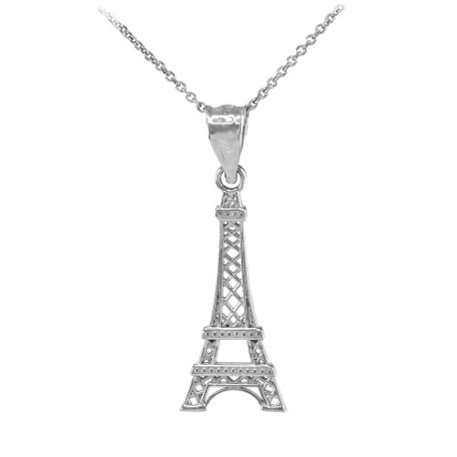 White gold eiffel tower pendant necklace aloadofball Image collections