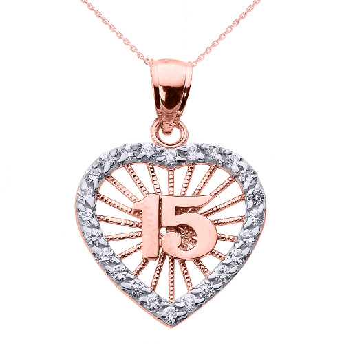 Rose gold sweet 15 cz quinceanera heart pendant necklace rose gold sweet 15 aos quinceanera cz heart pendant necklace mozeypictures Gallery