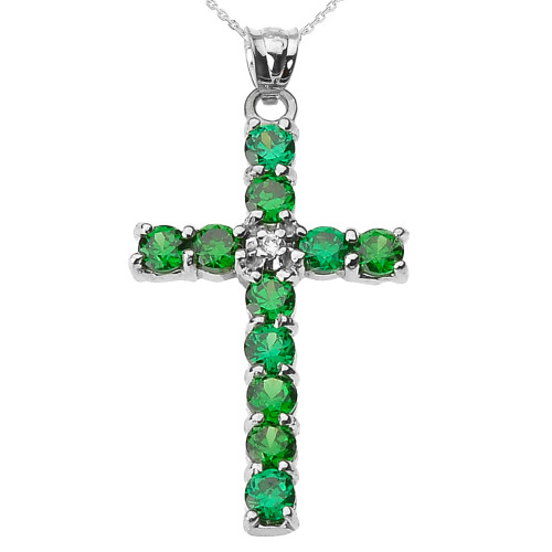 10k White Gold Diamond and Green CZ Cross Pendant Necklace