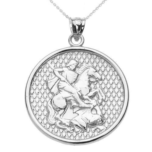 White gold saint george pendant necklace aloadofball Image collections