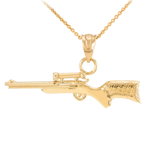 yellow gold scope sniper rifle pendant necklace sniper rifle with