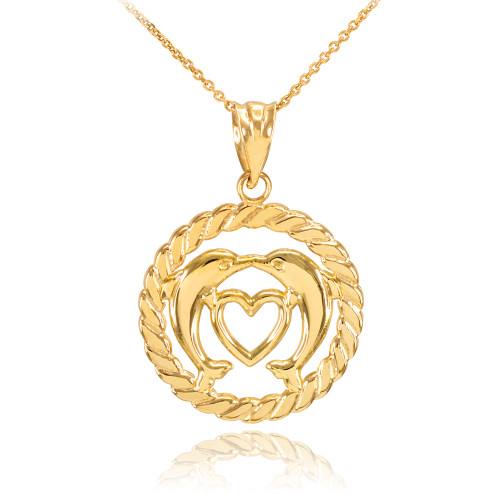 Yellow gold heart kissing dolphins in circle rope pendant necklace gold heart kissing dolphins in circle rope pendant necklace mozeypictures Choice Image