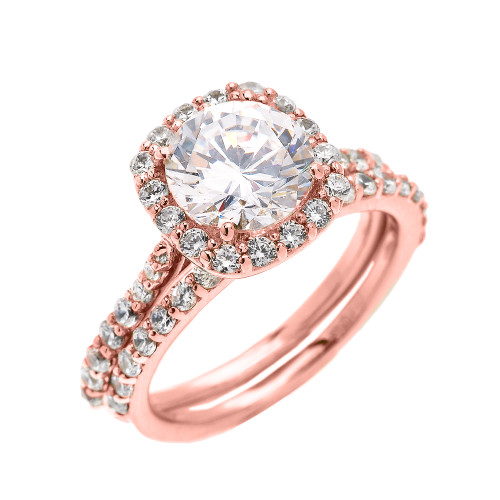 Genial Beautiful Dainty Rose Gold 3 Carat Halo Solitaire CZ Engagement Wedding Ring  Set