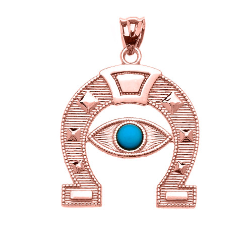 Rose gold evil eye protection horse shoe good luck pedant necklace aloadofball Image collections