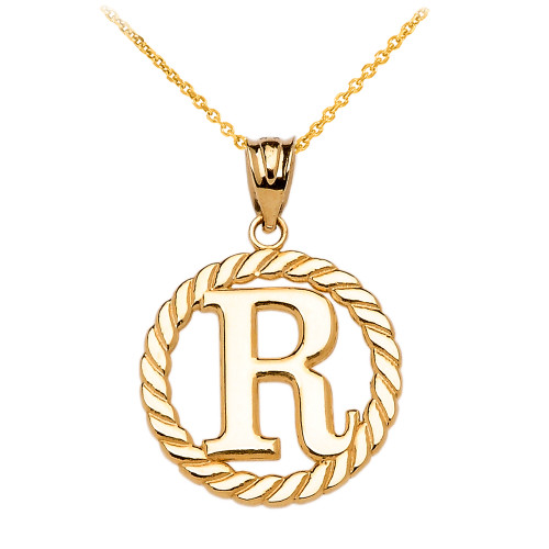 Yellow gold r initial in rope circle pendant necklace mozeypictures Gallery
