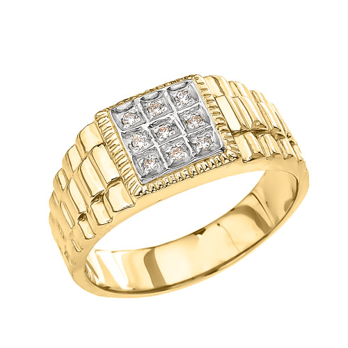 Yellow Diamond Watch Band Design Men s Ring